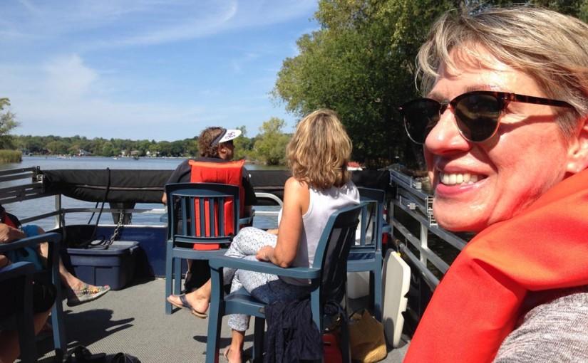 Berni on MSCR pontoon boat on Lake Monona