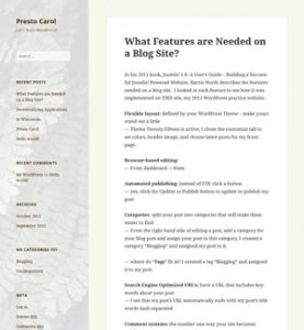 WordPress blog site home page