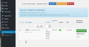 A screenshot from Akeeba Backup for WordPress
