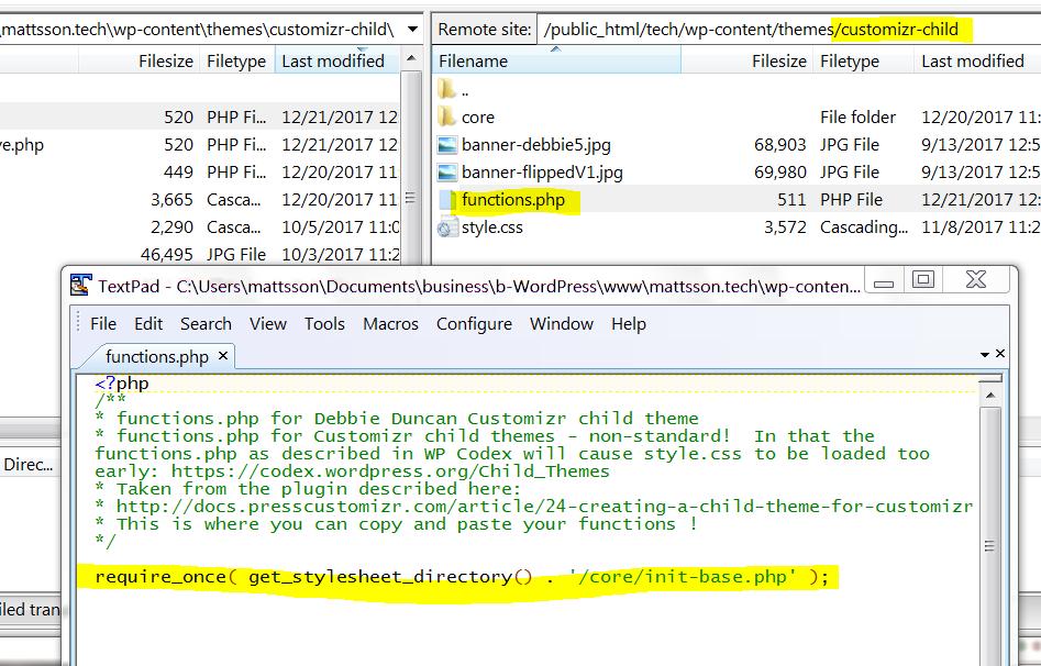 Screenshot of TextPad with Filezilla behind